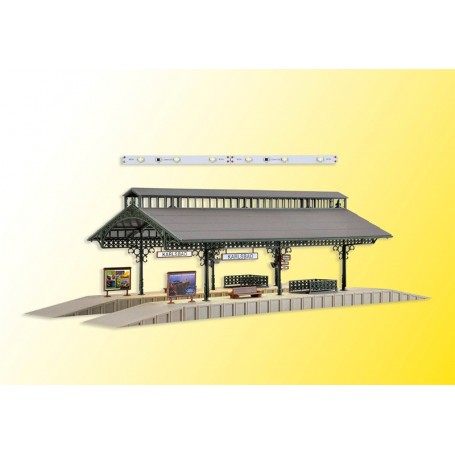 Vollmer 43545 Platform hall with LED lighting, functional kit