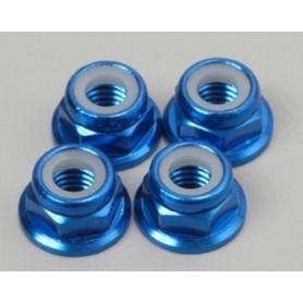 Traxxas 4147X Låsmutter, blå aluminium, M5, med nylonlåsning, 4 st