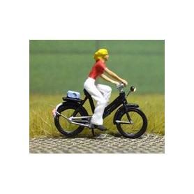 Bicyc Led 878094 Cykel med belysning, kvinna med last på pakethållaren
