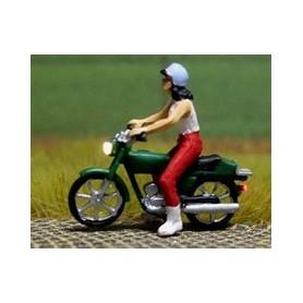 """Bicyc Led 878301 Moped med belysning """"Kvinna med linne och hjälm"""""""
