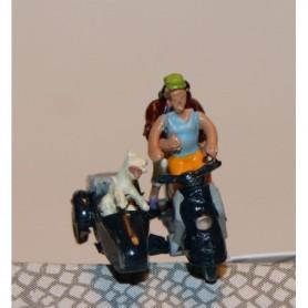 "Bicyc Led 168512 Moped med sidovagn med belysning ""Man som skjutar kvinna, hund åker i sidovagnen"""