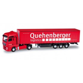 "Herpa 065986 MAN TGX XXL curtain tarp semitrailer ""Quehenberger Logistics"""