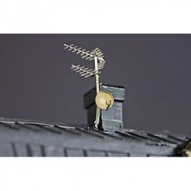Fryk 205 TV-antenner och parabol 80-tal, omålad byggsats i nysilver
