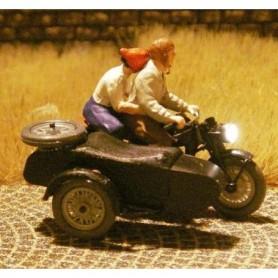Bicyc Led 878502 Motorcykel med sidovagn med belysning, man som skjutsar kvinna