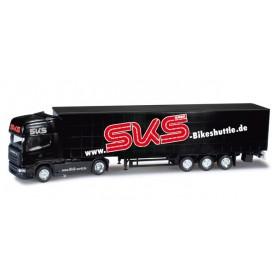 "Herpa 159722 Scania R TL curtain canvas semitrailer ""SKS Bikeshuttle"""