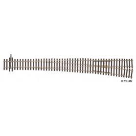 Tillig 85326 Växel EW5, manuell, höger, längd 361 mm, 9,4°, med hjärtstycke i metall