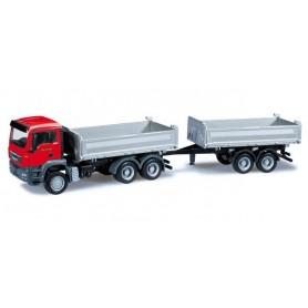 Herpa 301909 MAN TGS M Euro 5 tandem dump truck with trailer