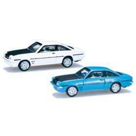 Herpa 065726.2 Opel Manta B GT/E, 2 pieces, blue and white