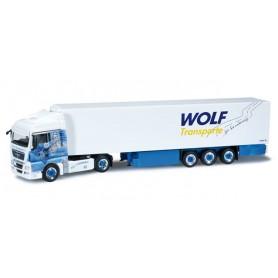 "Herpa 301770 MAN TGX XLX refrigerated semitrailer ""Wolf Transporte"""