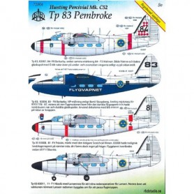 HC 72004 Dekalark för Flygplan Hunting Percivial Mk.C52 Tp 83 Pembroke