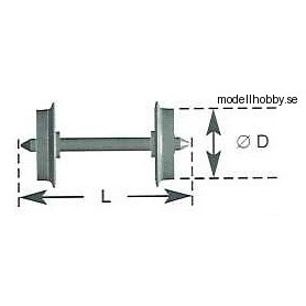 Tåg & Hobby 10099 Hjulaxel DC, skivhjul, 1 st, med spetslager, 10.8 mm hjuldiameter, axellängd 24.4 mm