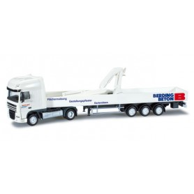 "Herpa 301497 DAF XF 105 SSC platform semitrailer with crane ""Spedition Land"""