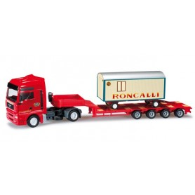 "Herpa 301183 MAN TGA XXL low boy semitrailer with circus trailer ""Roncalli"""