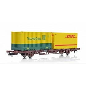 """NMJ 507121 Containervagn CargoNet Lgns 42 76 443 2062-9 med last av 2 23-fots containrar """"Tollpost/DHL"""""""