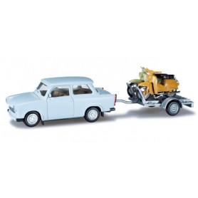 Herpa 027502 Trabant 601 Limousine with trailer and two Simson KR 51/1