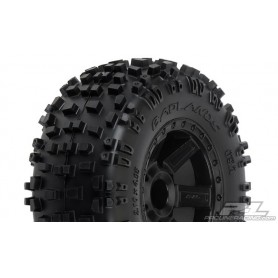 "Pro-Line 1173.12 Däck, färdiglimmade, Badlands 2.8"" All Terrain Tires Mounted on Desperado Black Wheels, 1 par"
