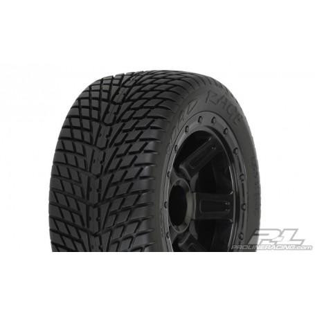 Pro-Line 1102.11 Däck, färdiglimmade, Road Rage Street Tires Mounted on Desperado Black Wheels for 1:16 E-REVO, 1 par