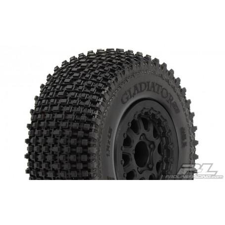 """Pro-Line 1169.13 Däck, färdiglimmade, Gladiator SC 2.2""""/3.0"""" M2 (Medium) Tires Mounted on Renegade Black Wheels for Slash Rea..."""