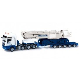 "Herpa 302753 MAN TGX XXL 540 low boy semitrailer with the central part of the crane Liebherr LR 1600/2 ""Wasel Krane"""