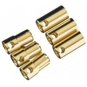 Castle BULLET65 CC Bullet 6.5 mm guldkontakter, 3 par, passar för 13 till 8 AWG silikonkabel, upp till 200A