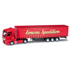 "Herpa 066136 MAN TGA XL curtain canvas semitrailer ""Emons"""