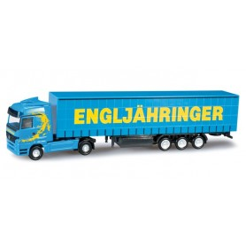 "Herpa 066150 Mercedes Benz Actros LH curtain canvas semitrailer ""Engljähringer"" (A)"