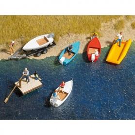 Busch 8057 Båtar, flotte och ett släp