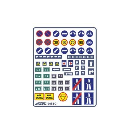 Entec 9051C Vägmärkesdekaler, äldre (-65) blå (K)