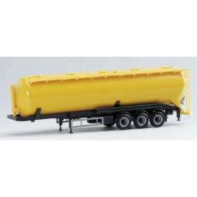 Herpa Exclusive 650204 Silotrailer 60 cbm, 3-axlig, gul med svart chassie
