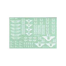 Jeco 12-420 Dekalark med blandade vita SJ-märkningar, 1 ark