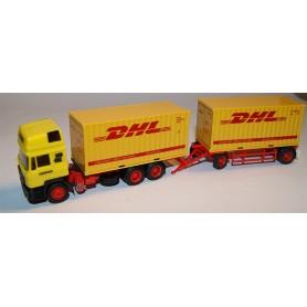 "AHM AH-027 MAN Bil & Släp med containers ""Lulefrakt"" & ""DHL"""