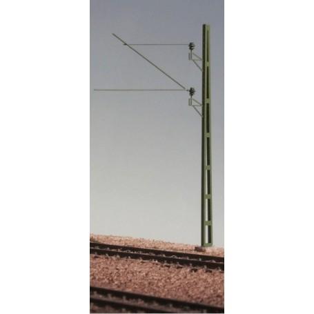 Entec 3303-1F Linjestolpe av aldre SJ-typ med d:o utliggare, isolatorer och fundament. Färdigbyggd och grönlackerad
