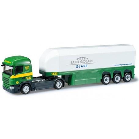 "Herpa 303279 Scania R ´09 HL glass transporter semitrailer ""Offergeld"""