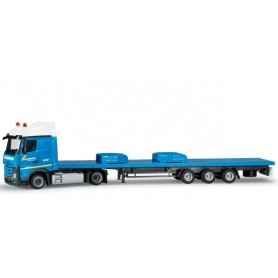 "Herpa 303262 Mercedes-Benz Actros Streamspace 2,5 flatbed semitrailer with ballast weight for Liebherr LR 1600/2 ""Felbermayr""..."