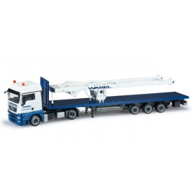 "Herpa 303071 MAN TGX XLX lowliner flattrailer with ballast weight for Liebherr LR 1600/2 ""Wasel Krane"""