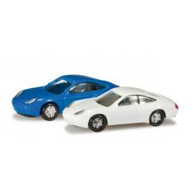 Herpa 065122.2 Passenger cars set Porsche 911, blue/white Content: 2 pcs