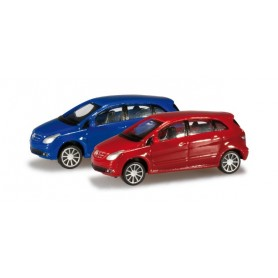 Herpa 065283.2 Passenger cars set Mercedes Benz B-Class, red/ultramarine blue