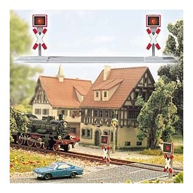 Busch 5954 Varningssignaler för järnvägsövergång med blinkande lampor, 2 st