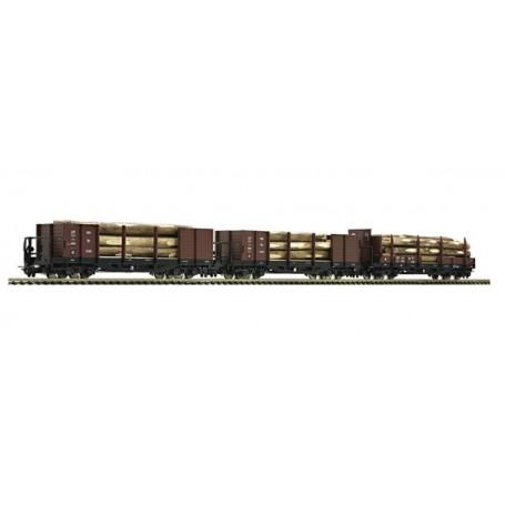 Roco 34609 Vagnsset med 3 trätransportvagnar typ ÖBB