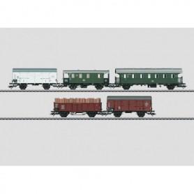 Märklin 48816 Vagnsset med 3 godsvagnar 1 baggagevagn och 1 personvagn typ DB