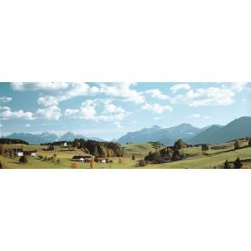 Vollmer 6110 Bakgrundkuliss, landskapsmotiv, 2-delad, mått 275 x 48 cm