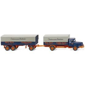 """Wiking 48003 Flatbed truck and trailer (Krupp Titan) """"Rhein.-West. Frachten-Kontor"""", 1950"""