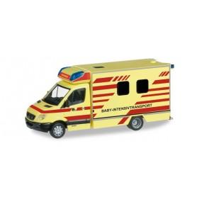 """Herpa 091565 Mercedes Benz Sprinter Fahrtec baby rescue vehicle """"Dresden fire department"""""""