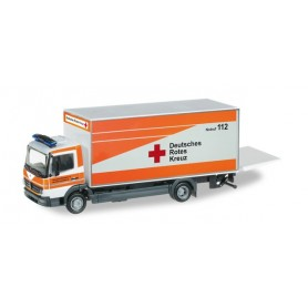 "Herpa 091558 Mercedes Benz Atego box trailer with liftgate ""Warendorf rescue service"""