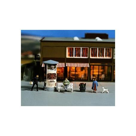 Noch 11550 Stadsset, figurer, hund, bänk, reklamstolpe