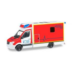 """Herpa 091701 Mercedes Benz Sprinter Fahrtec RTW """"Rescue service Hochsauerlandkreis"""""""