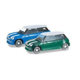 "Herpa 065252.3 N-passenger cars set ""Mini Cooper"", British Racing Green / Lightning Blue"
