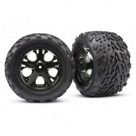 "Traxxas 3668A Däck, färdiglimmade, Talon 2.8"" Tires med foam inserts, fälg All-Star black chrome, 1 par"