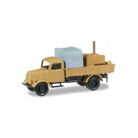 Herpa 745017 Mercedes Benz Truck with field kitchen, lumber and canvas cover, sand beige
