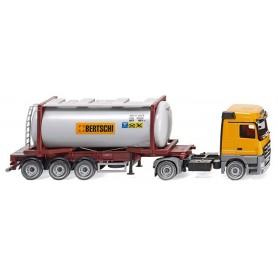 """Wiking 53602 Swap tank container semi-truck (MB Actros) """"Bertschi"""""""